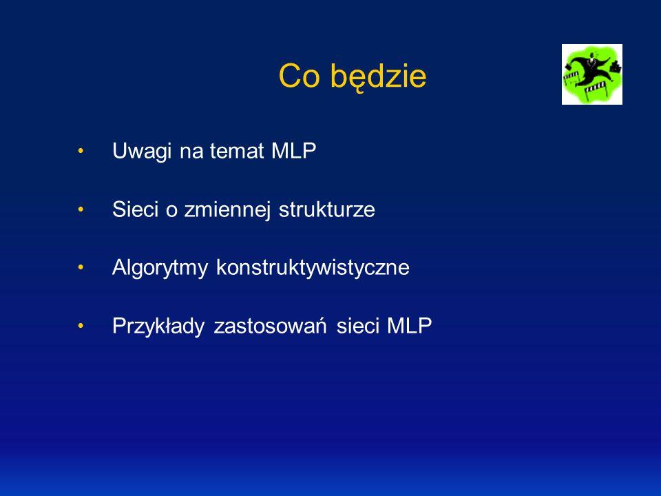 Co będzie Uwagi na temat MLP Sieci o zmiennej strukturze