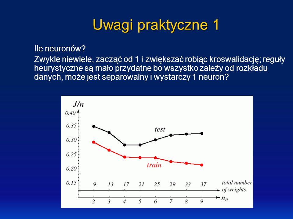 Uwagi praktyczne 1 Ile neuronów