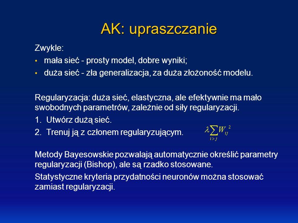 AK: upraszczanie Zwykle: mała sieć - prosty model, dobre wyniki;