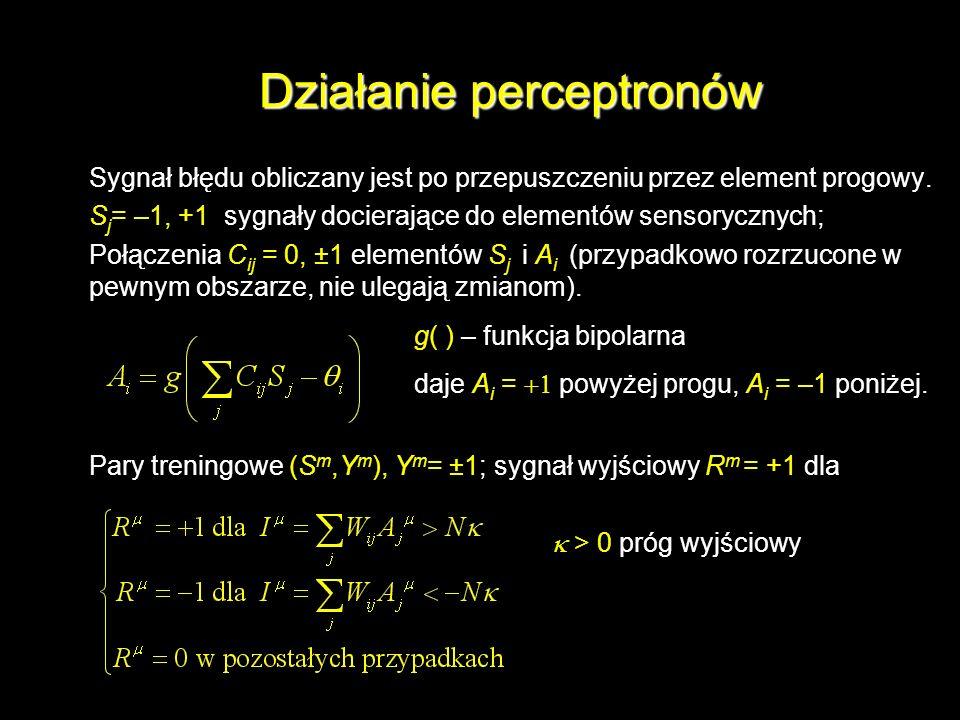 Działanie perceptronów