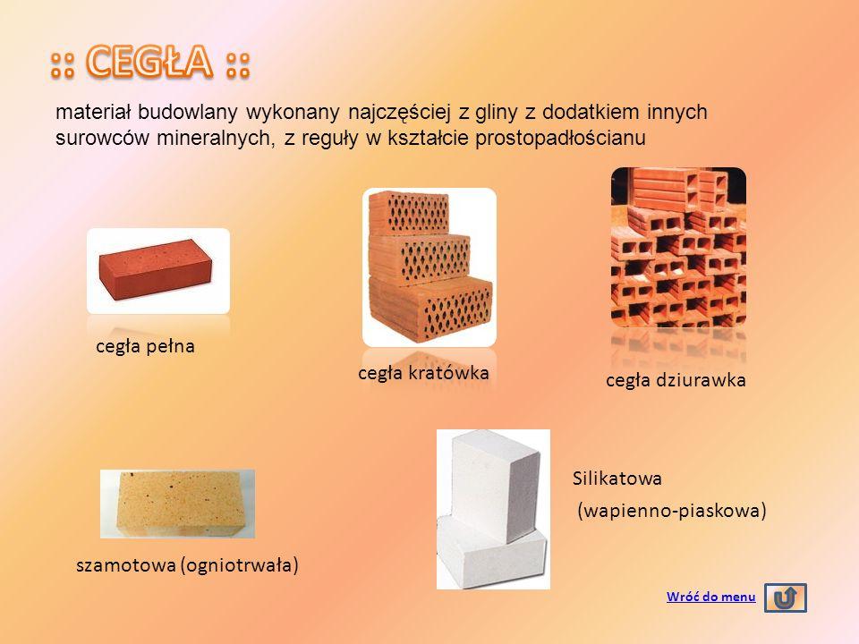 :: CEGŁA :: materiał budowlany wykonany najczęściej z gliny z dodatkiem innych surowców mineralnych, z reguły w kształcie prostopadłościanu.