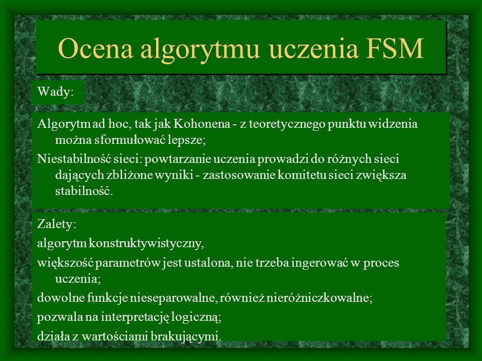 Ocena algorytmu uczenia FSM