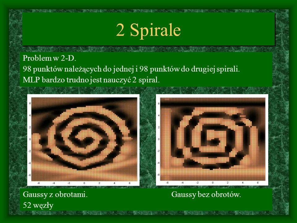 2 Spirale Problem w 2-D. 98 punktów należących do jednej i 98 punktów do drugiej spirali. MLP bardzo trudno jest nauczyć 2 spiral.