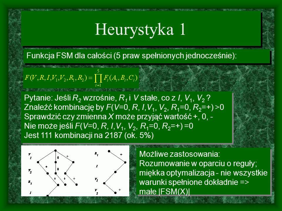 Heurystyka 1 Funkcja FSM dla całości (5 praw spełnionych jednocześnie): Pytanie: Jeśli R2 wzrośnie, R1 i V stałe, co z I, V1, V2