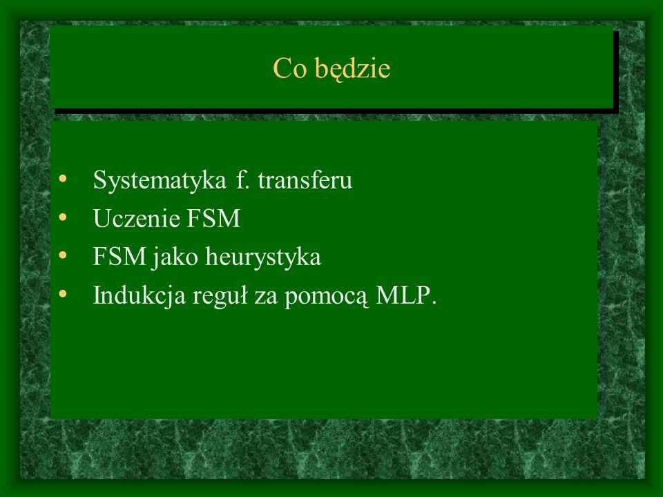 Co będzie Systematyka f. transferu Uczenie FSM FSM jako heurystyka