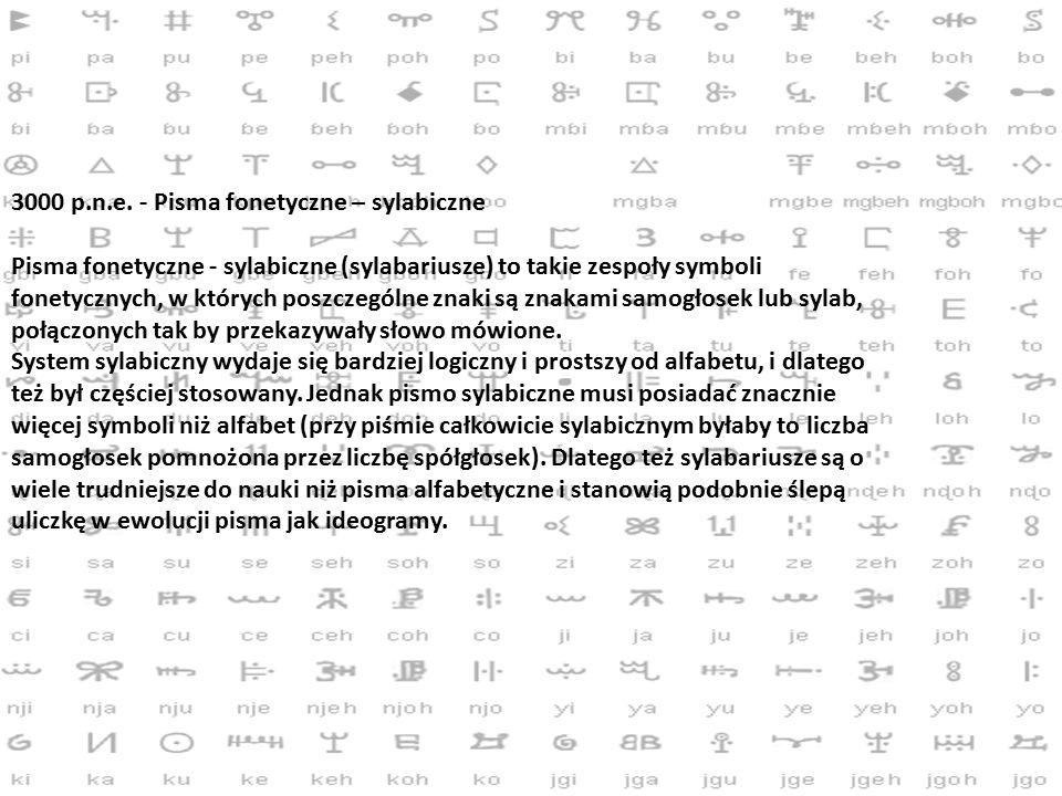 3000 p.n.e. - Pisma fonetyczne – sylabiczne
