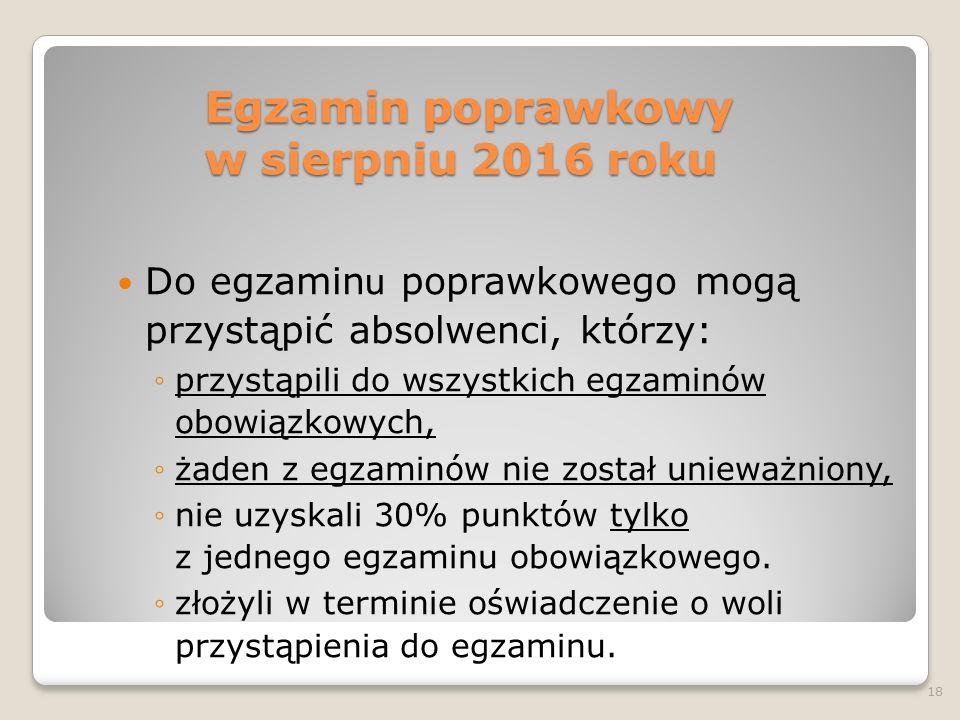 Egzamin poprawkowy w sierpniu 2016 roku