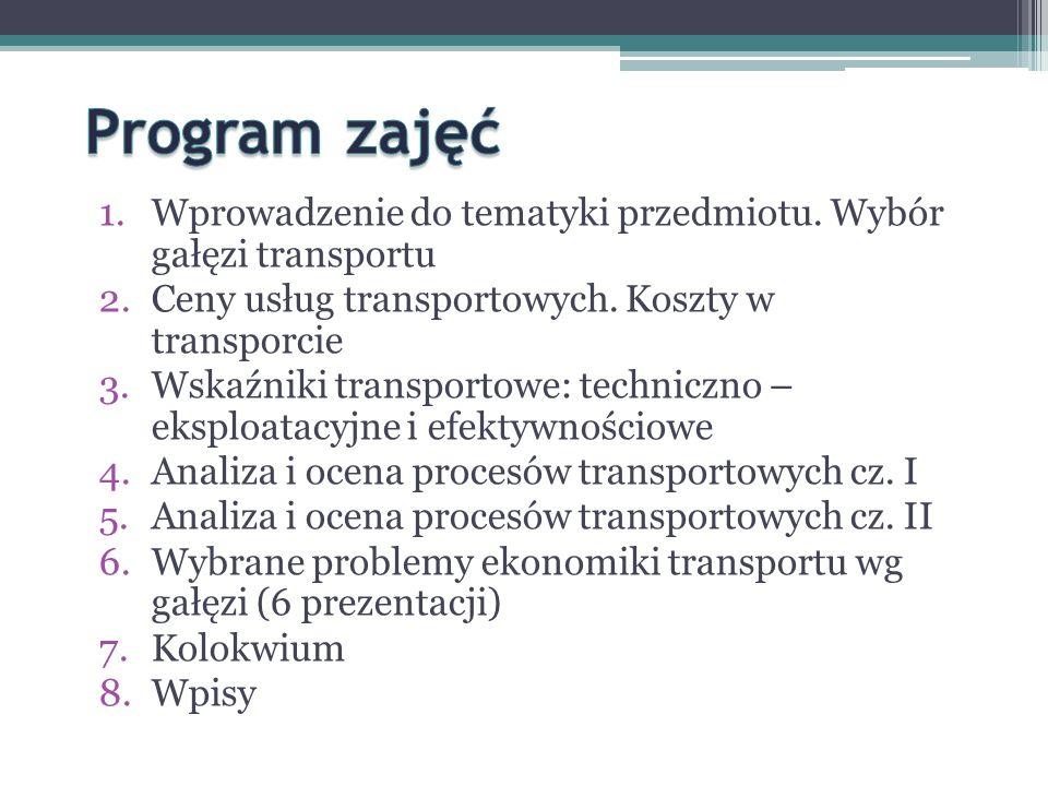 Program zajęć Wprowadzenie do tematyki przedmiotu. Wybór gałęzi transportu. Ceny usług transportowych. Koszty w transporcie.