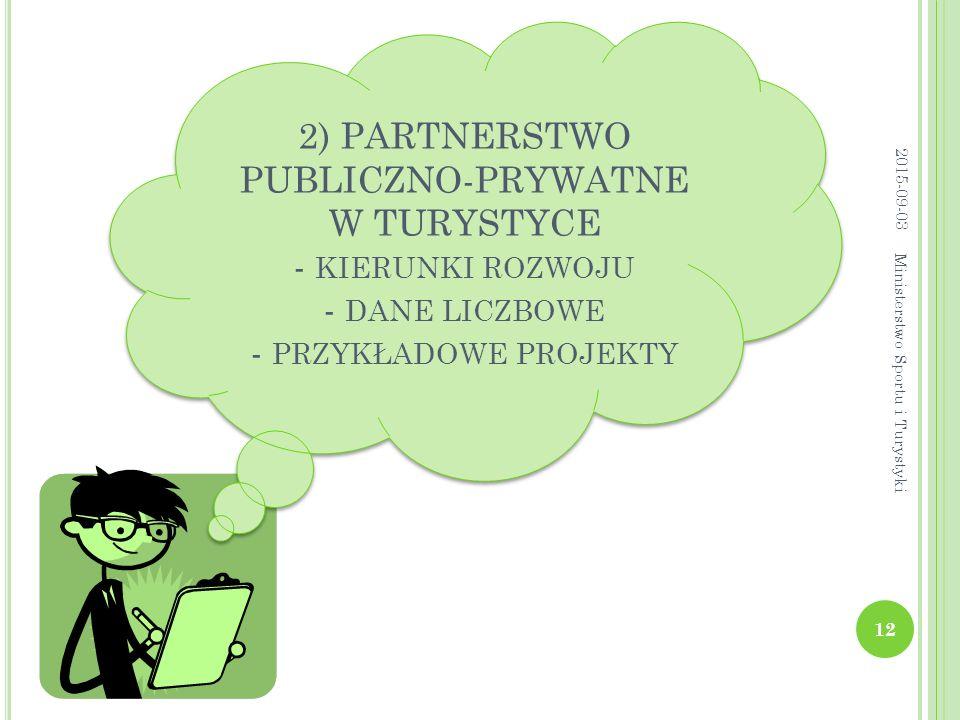 2) PARTNERSTWO PUBLICZNO-PRYWATNE W TURYSTYCE - kierunki rozwoju - dane liczbowe - przykładowe projekty