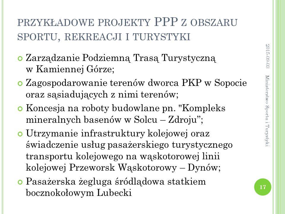 przykładowe projekty PPP z obszaru sportu, rekreacji i turystyki