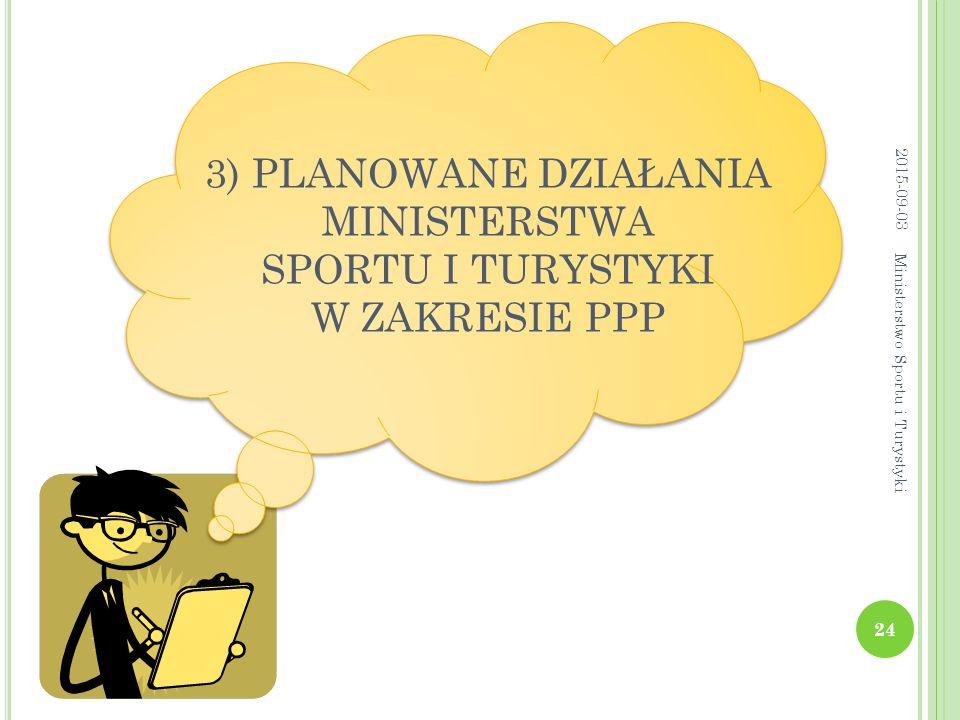 3) PLANOWANE DZIAŁANIA MINISTERSTWA SPORTU I TURYSTYKI W ZAKRESIE PPP