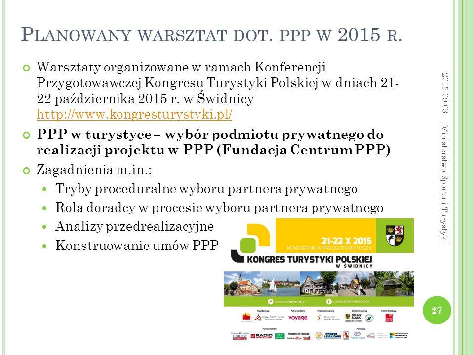 Planowany warsztat dot. ppp w 2015 r.
