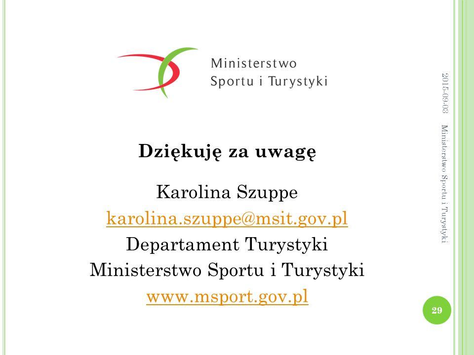 2015-09-03 Dziękuję za uwagę Karolina Szuppe karolina.szuppe@msit.gov.pl Departament Turystyki Ministerstwo Sportu i Turystyki www.msport.gov.pl