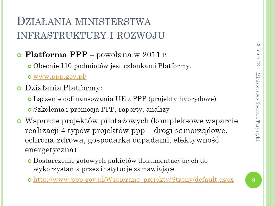 Działania ministerstwa infrastruktury i rozwoju
