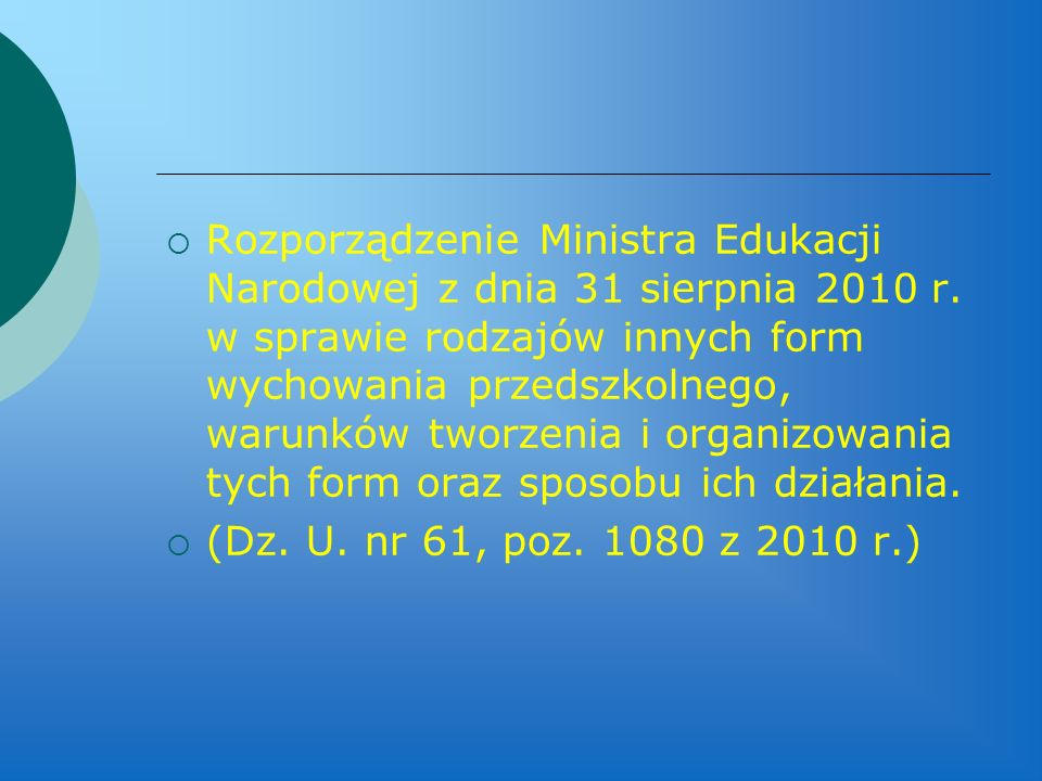Rozporządzenie Ministra Edukacji Narodowej z dnia 31 sierpnia 2010 r