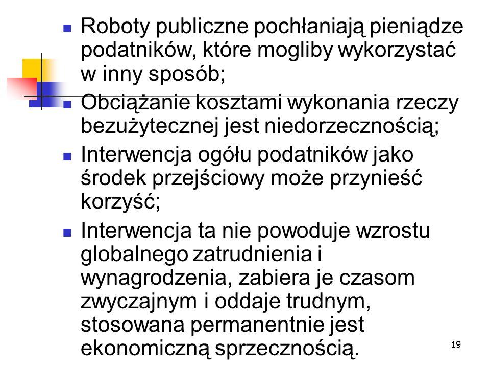 Roboty publiczne pochłaniają pieniądze podatników, które mogliby wykorzystać w inny sposób;