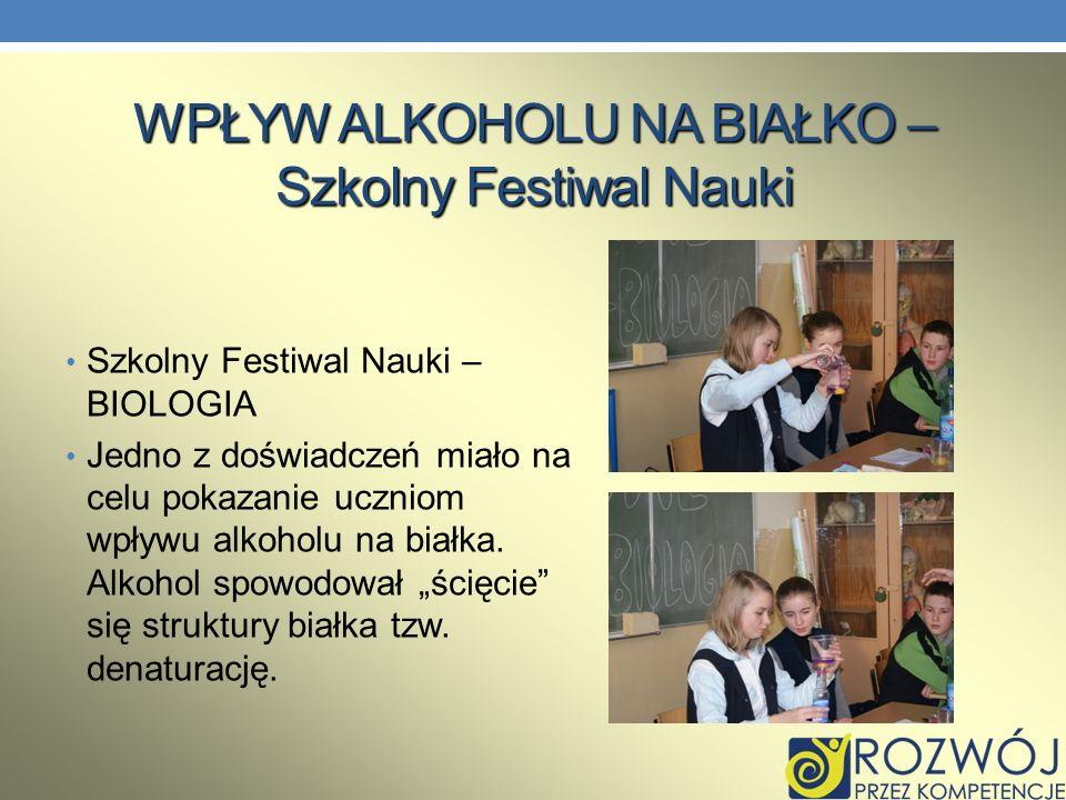 WPŁYW ALKOHOLU NA BIAŁKO – Szkolny Festiwal Nauki