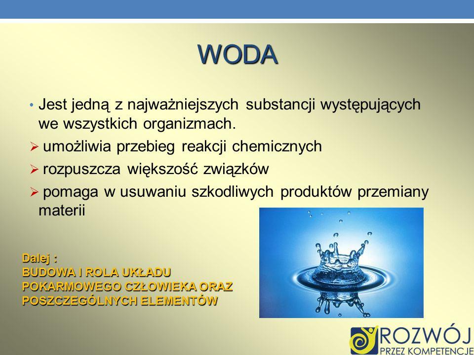 WODA Jest jedną z najważniejszych substancji występujących we wszystkich organizmach. umożliwia przebieg reakcji chemicznych.