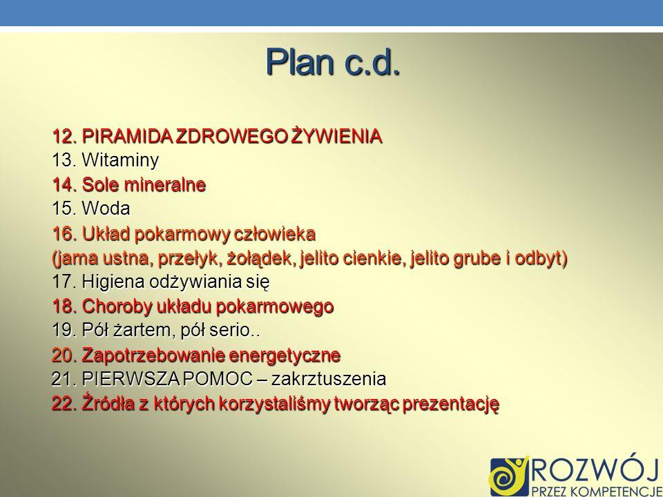 Plan c.d. 12. PIRAMIDA ZDROWEGO ŻYWIENIA 13. Witaminy