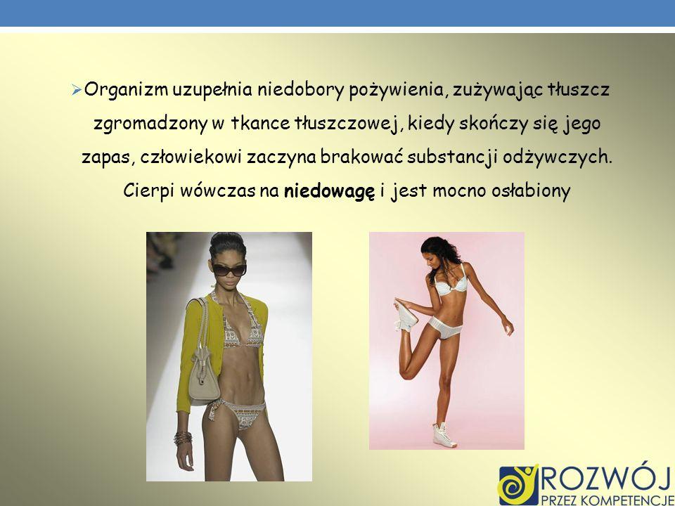 Organizm uzupełnia niedobory pożywienia, zużywając tłuszcz zgromadzony w tkance tłuszczowej, kiedy skończy się jego zapas, człowiekowi zaczyna brakować substancji odżywczych.