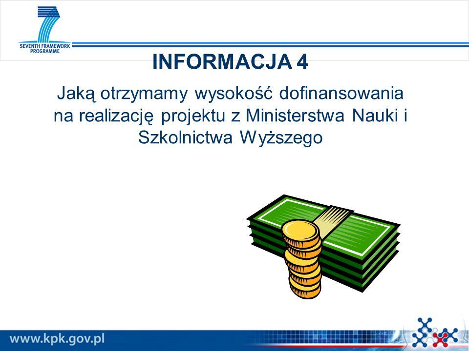 INFORMACJA 4 Jaką otrzymamy wysokość dofinansowania na realizację projektu z Ministerstwa Nauki i Szkolnictwa Wyższego.