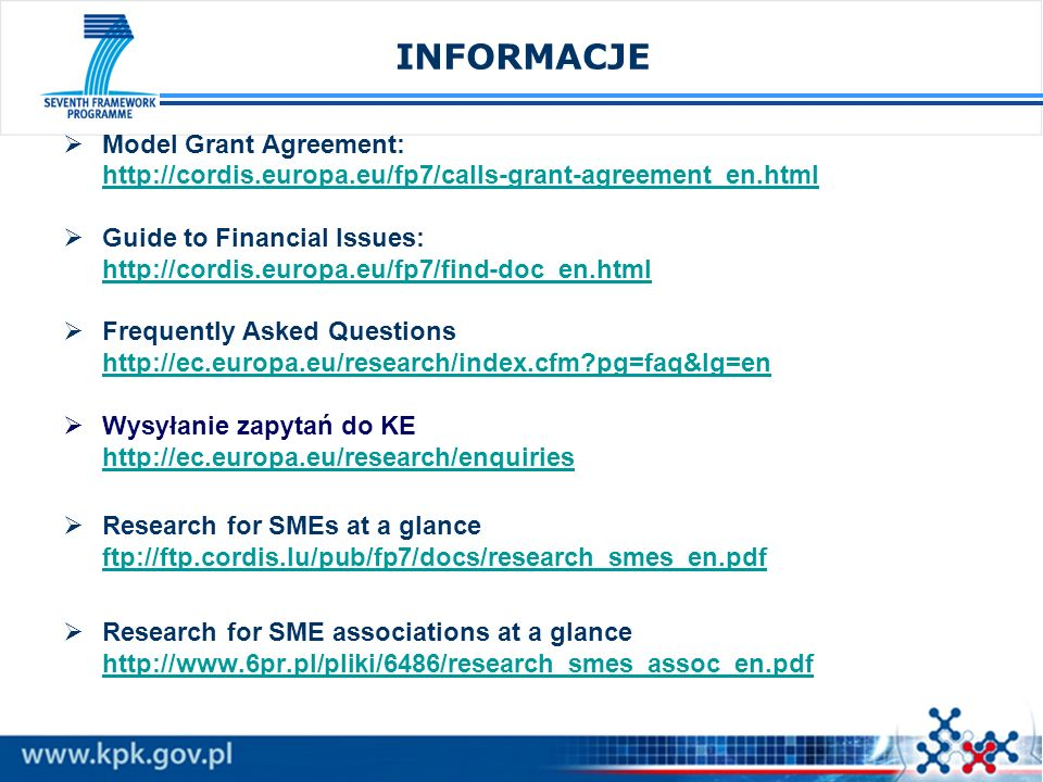 INFORMACJE Model Grant Agreement: