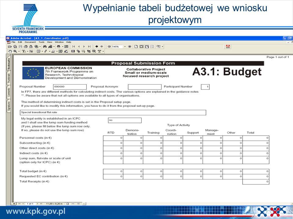 Wypełnianie tabeli budżetowej we wniosku projektowym