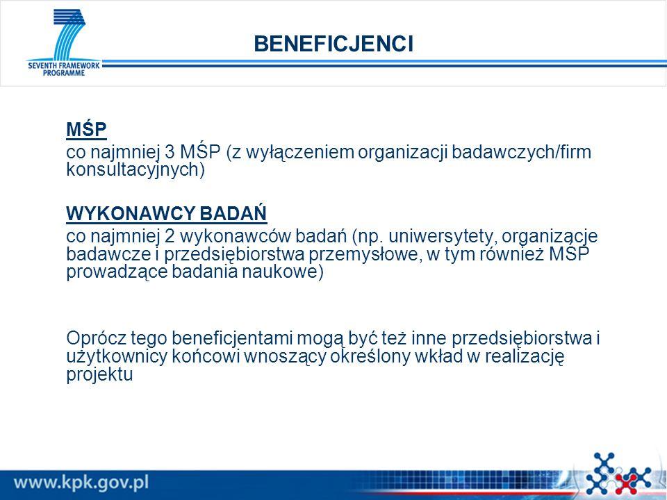 BENEFICJENCI MŚP. co najmniej 3 MŚP (z wyłączeniem organizacji badawczych/firm konsultacyjnych) WYKONAWCY BADAŃ.
