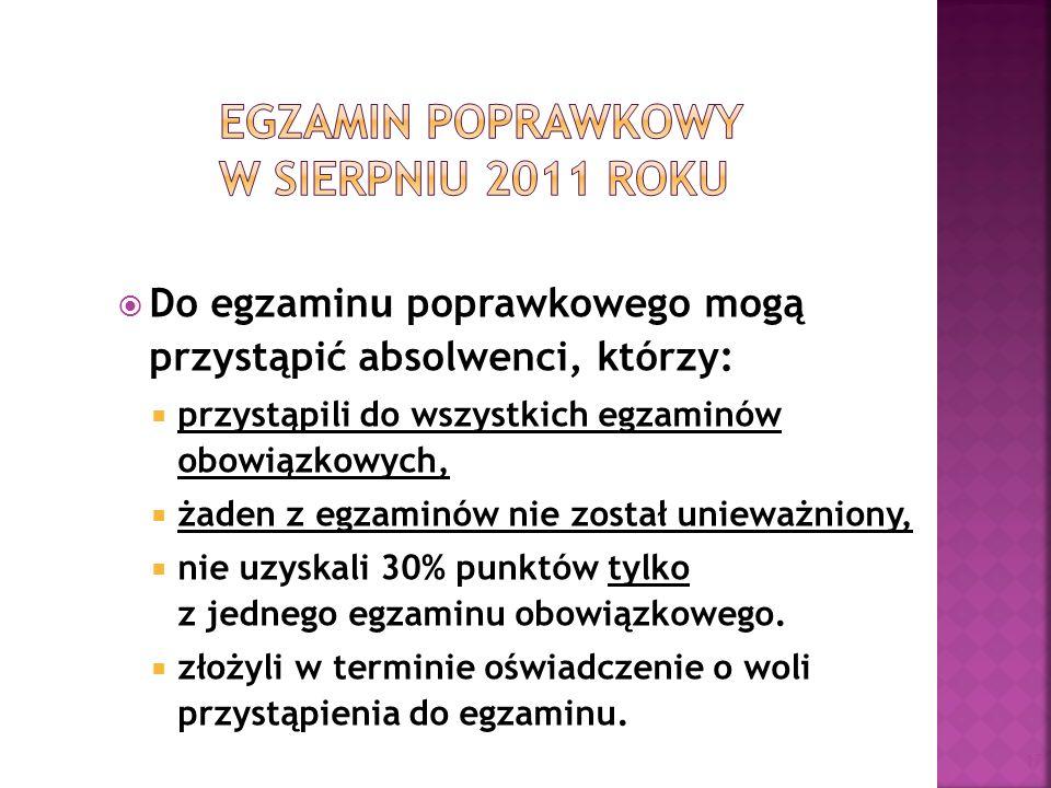 Egzamin poprawkowy w sierpniu 2011 roku