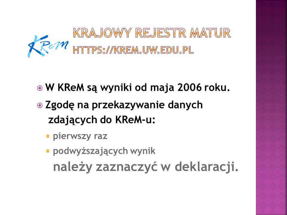 Krajowy Rejestr Matur https://krem.uw.edu.pl