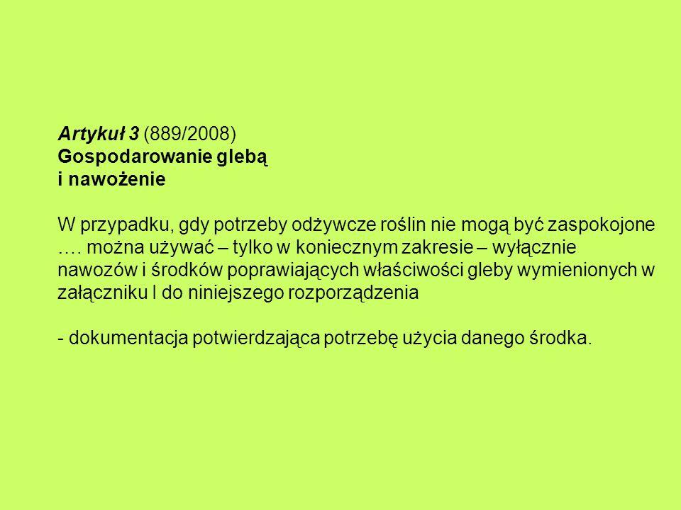 Artykuł 3 (889/2008) Gospodarowanie glebą i nawożenie W przypadku, gdy potrzeby odżywcze roślin nie mogą być zaspokojone ….