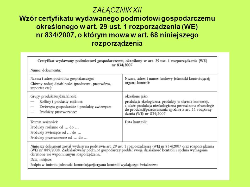 ZAŁĄCZNIK XII Wzór certyfikatu wydawanego podmiotowi gospodarczemu określonego w art.