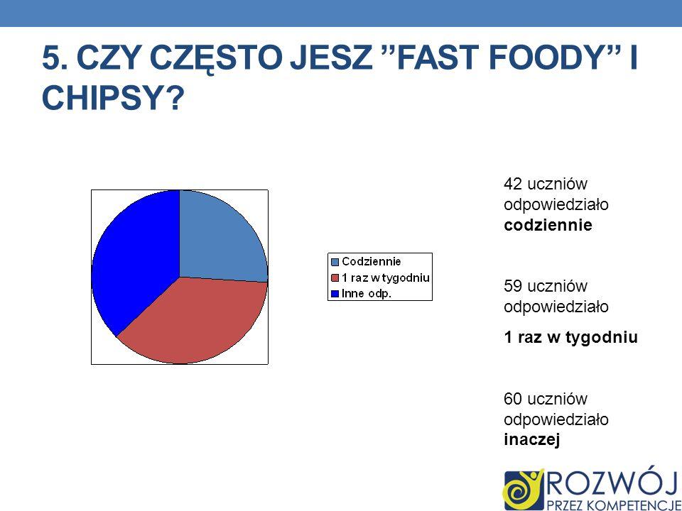 5. Czy często jesz Fast foody i chipsy