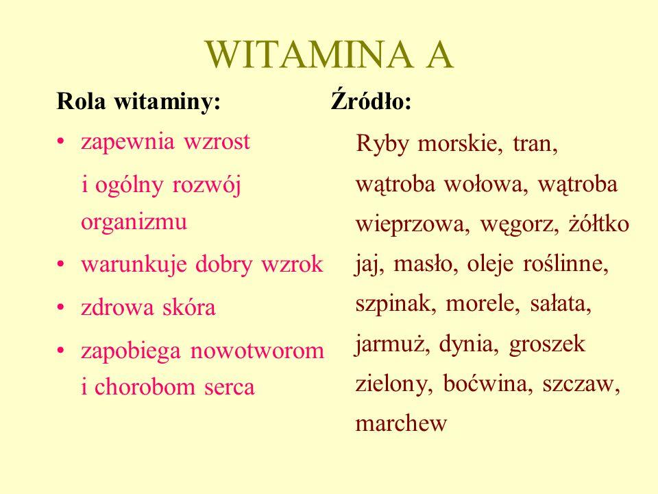 WITAMINA A Rola witaminy: zapewnia wzrost i ogólny rozwój organizmu