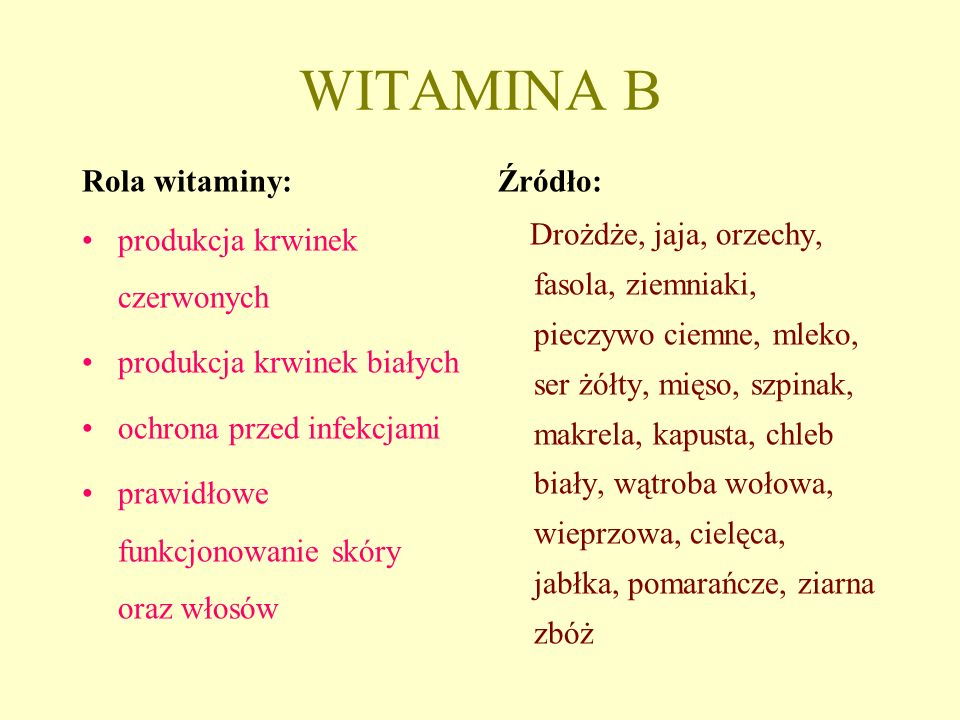 WITAMINA B Rola witaminy: produkcja krwinek czerwonych