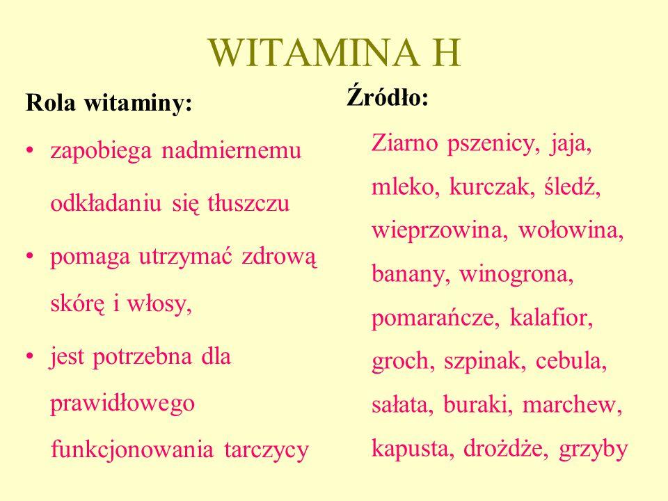 WITAMINA H Źródło: Rola witaminy: