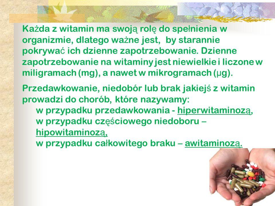 Każda z witamin ma swoją rolę do spełnienia w organizmie, dlatego ważne jest, by starannie pokrywać ich dzienne zapotrzebowanie. Dzienne zapotrzebowanie na witaminy jest niewielkie i liczone w miligramach (mg), a nawet w mikrogramach (μg).