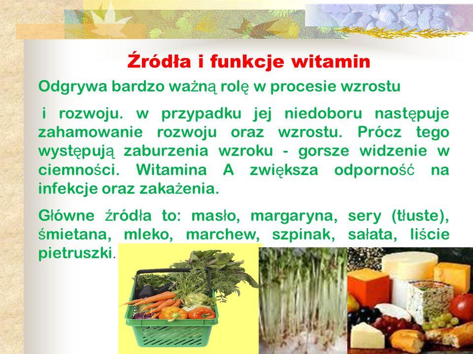 Źródła i funkcje witamin