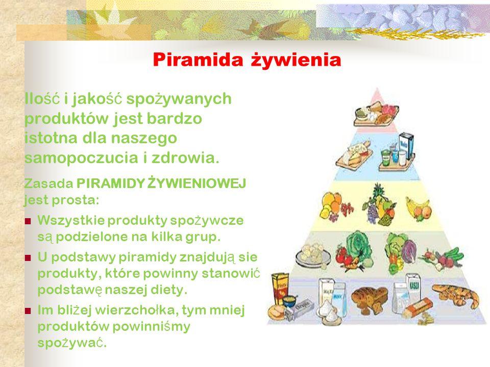 Piramida żywienia Ilość i jakość spożywanych produktów jest bardzo istotna dla naszego samopoczucia i zdrowia.