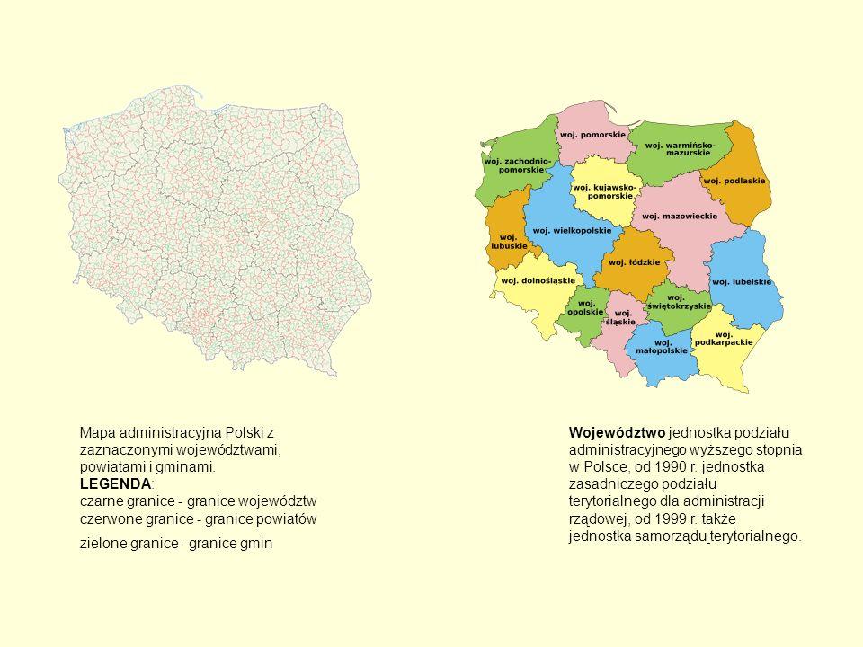 Mapa administracyjna Polski z zaznaczonymi województwami, powiatami i gminami. LEGENDA: czarne granice - granice województw czerwone granice - granice powiatów zielone granice - granice gmin