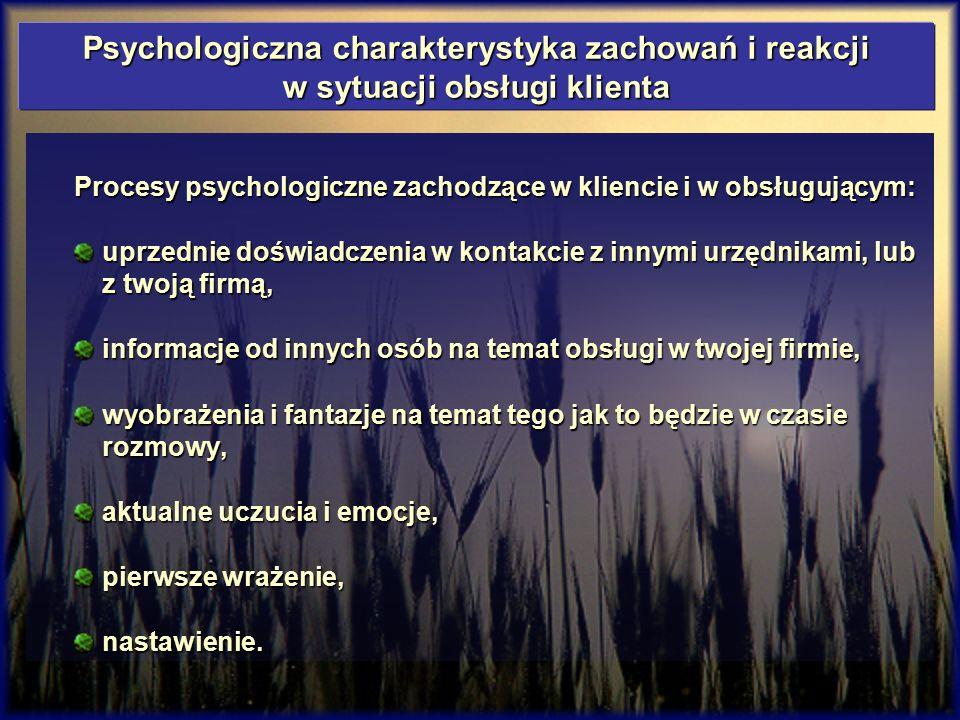 Psychologiczna charakterystyka zachowań i reakcji w sytuacji obsługi klienta