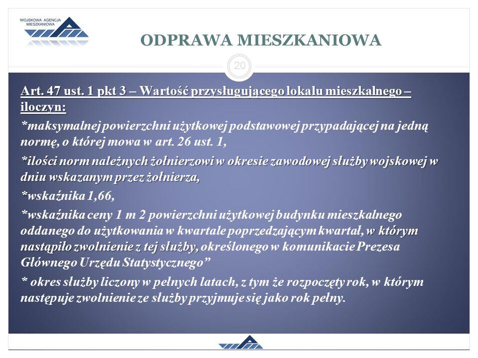 ODPRAWA MIESZKANIOWA Art. 47 ust. 1 pkt 3 – Wartość przysługującego lokalu mieszkalnego – iloczyn: