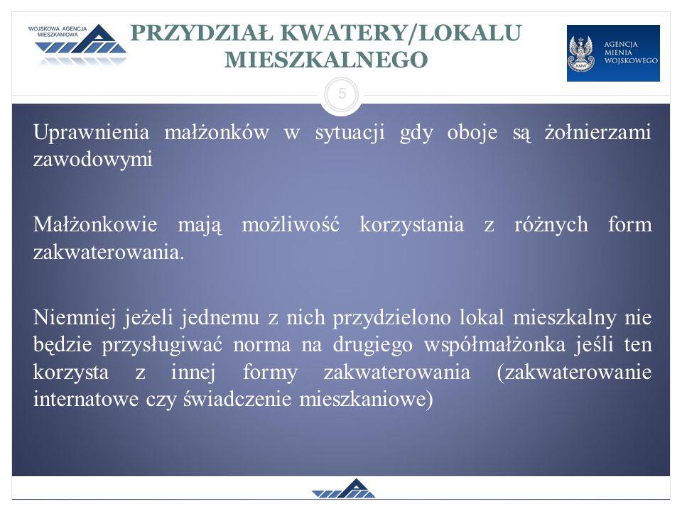 PRZYDZIAŁ KWATERY/LOKALU MIESZKALNEGO