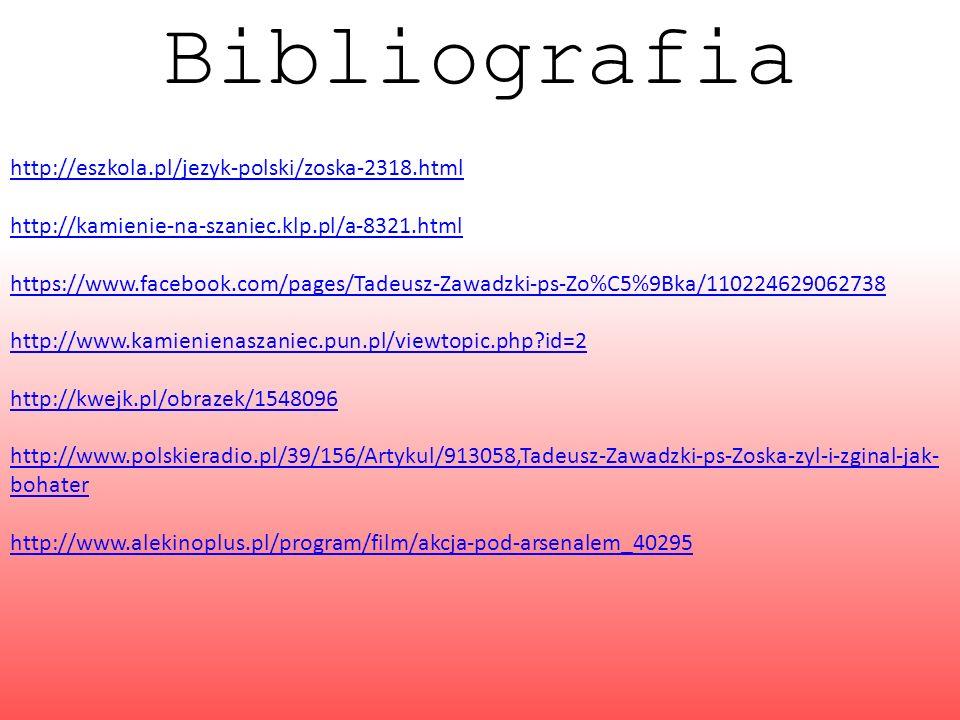 Bibliografia http://eszkola.pl/jezyk-polski/zoska-2318.html