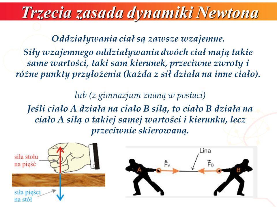 Trzecia zasada dynamiki Newtona Oddziaływania ciał są zawsze wzajemne.