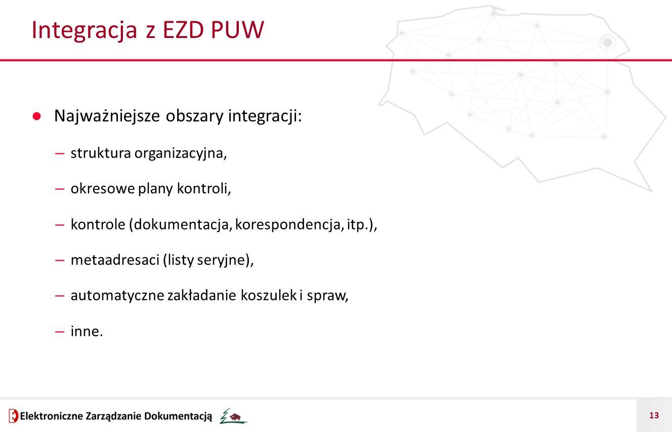 Integracja z EZD PUW Najważniejsze obszary integracji: