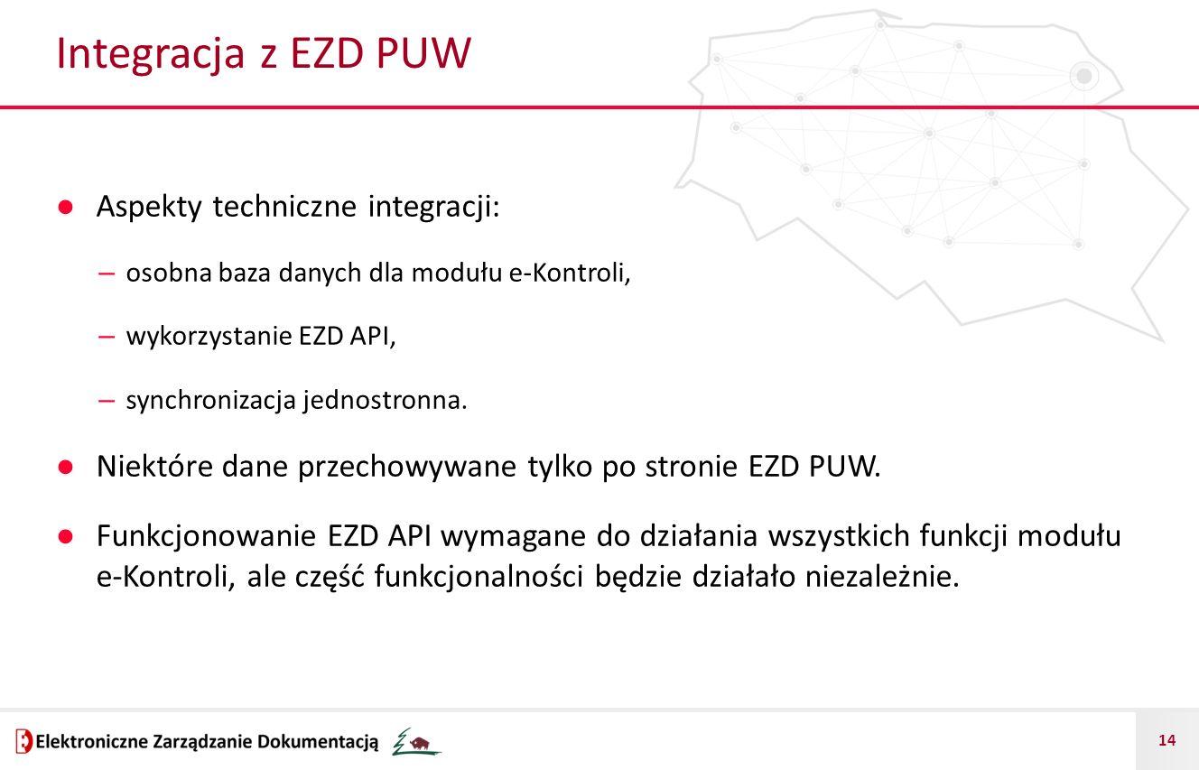 Integracja z EZD PUW Aspekty techniczne integracji: