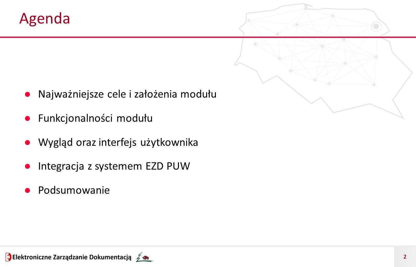 Agenda Najważniejsze cele i założenia modułu Funkcjonalności modułu
