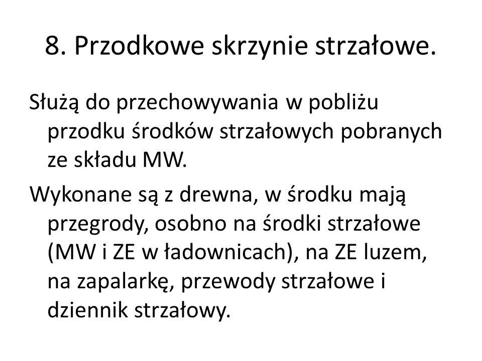 8. Przodkowe skrzynie strzałowe.