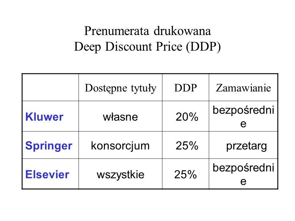 Prenumerata drukowana Deep Discount Price (DDP)